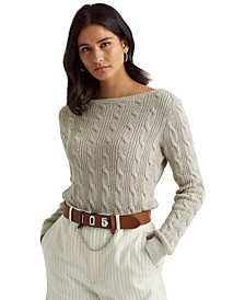 Cable-Knit Boatneck Sweater