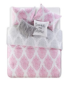 Love The Little Things Damask 4 Piece Comforter Set, Full