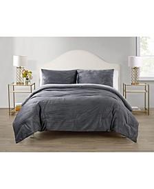 Sadie Crinkle 3 Piece Velvet Comforter Set, King