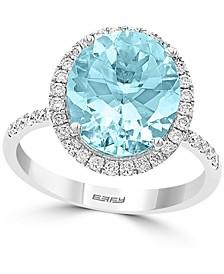 EFFY® Aquamarine (4-1/5 ct. t.w.) & Diamond (3/8 ct. t.w.) Halo Ring in 14k White Gold