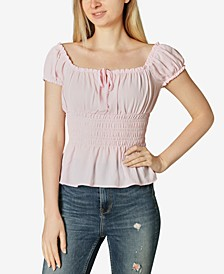 Juniors' Smocked Peplum Top