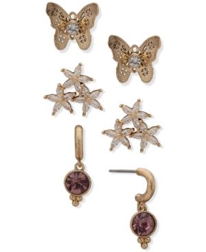 Gold-Tone 3-Pc. Set Crystal Butterfly & Flower Earrings