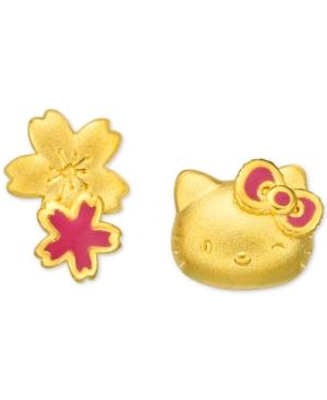 Hello Kitty Mismatch Stud Earrings in 24k Gold