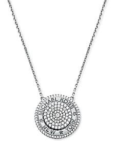"Crystal Logo Round Pendant Necklace, 16"" + 2"" extender"