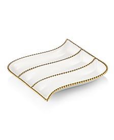 Porcelian 3 Divider cracker Dish with Gold Beaded Design