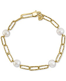 EFFY® Cultured Freshwater Pearl (7mm) Large Paperclip Link Bracelet in 18k Gold-Plated Sterling Silver
