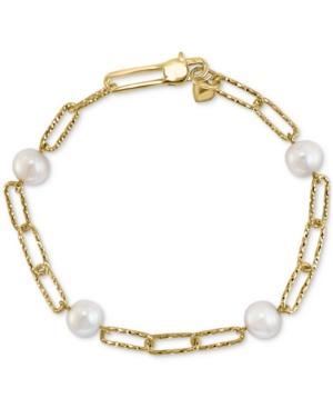 EFFY® Cultured Freshwater Pearl (7mm) Large Link Bracelet in 18k Gold-Plated Sterling Silver