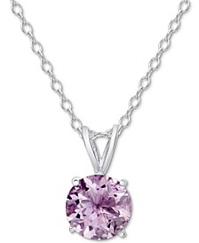 """Amethyst Solitaire 18"""" Pendant Necklace (1-1/3 ct. t.w.) in Sterling Silver"""