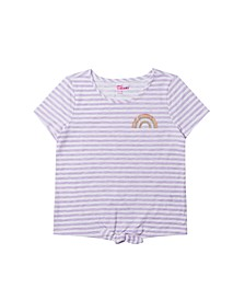 Big Girls Short Sleeve Tie Front Striped T-shirt