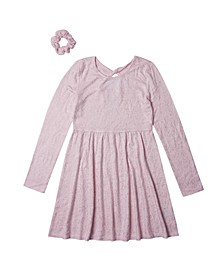 Big Girls Long Sleeve Twist Back Snit Dress