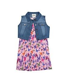 Toddler Girls Pleated Dress with Denim Vest