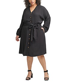 Plus Size Belted Shirtdress