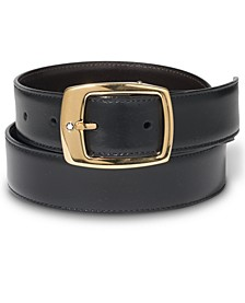 Gold-Coated Pin Buckle Reversible Leather Belt 5562