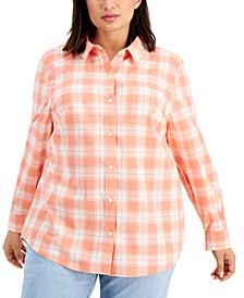 Plus Size Cotton Boyfriend Shirt, Created for Macy's