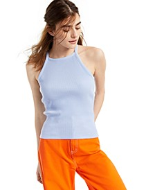 Juniors' High-Neck Ribbed Top