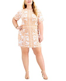Plus Size Paisley-Print Shift Dress