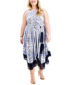 Plus Size Paisley-Print Belted Maxi Dress