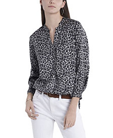 Women's Ruched Sleeve Spotted Leopard Henley Blouse