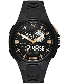 Men's Bold Analog-Digital Black Polyurethane Strap Watch 48mm