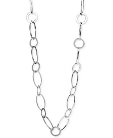 Silver Circle & Oval Link Long Necklace