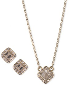 """2-Pc. Set Crystal Earrings and Pendant Necklace, 16"""" + 3"""" extender"""