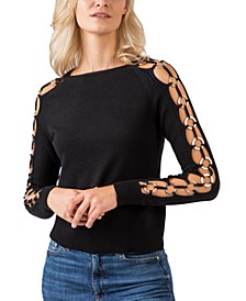 Black Label Gold-Tone Ring-Trim Long Sleeve Crew Neck Sweater