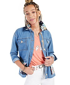 Petite Printed-Patch Denim Jacket, Created for Macy's