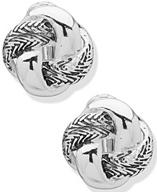 Silver-Tone Etched Knot Clip-On Stud Earrings