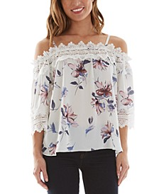 Juniors' Floral-Print Crochet-Trim Cold-Shoulder Top