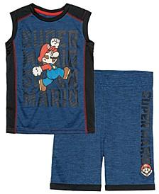 Little Boys Super Mario Jump Active Tank Top and Shorts Set, 2 Piece