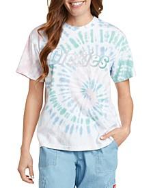 Juniors' Tie-Dyed Logo Graphic T-Shirt