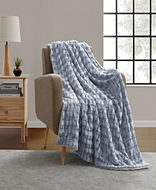 Jessica Carved Faux Fur Throw Blanket