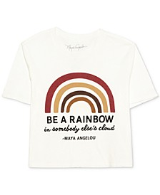Juniors' Cotton Rainbow-Graphic T-Shirt
