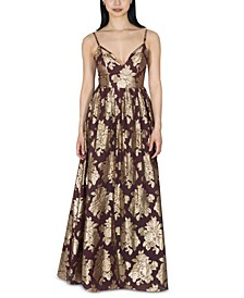 Juniors' Brocade Chiffon Gown