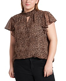 Plus Size Smocked Flutter-Sleeve Printed Top