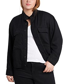 Plus Size Stand-Collar Jacket