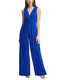 Shirred Wrap-Front Jumpsuit