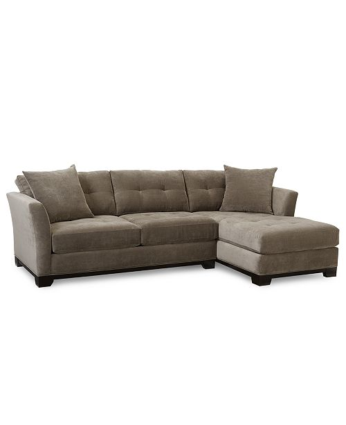 Furniture Closeout Elliot Fabric Microfiber 2 Pc Chaise Sectional Sofa Created For Macy S