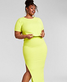 Trendy Plus Size Ribbed Knit Cropped T-Shirt, Created for Macy's