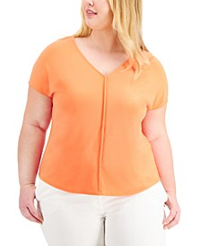 Plus Size Seamed V-Neck Top, Created For Macy's
