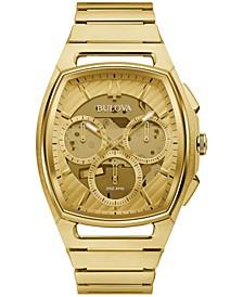 Men's Chronograph Curv Gold-Tone Stainless Steel Bracelet Watch 41.7mm