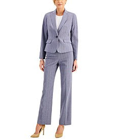 Petite Cross-Dye Shadow Stripe Pantsuit