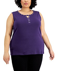 Plus Size Studded Sleeveless Top, Created for Macy's