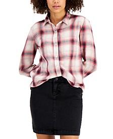 Petite Plaid Boyfriend Shirt, Created for Macy's