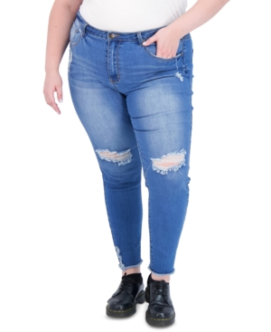 Trendy Plus Size Super-High-Rise Curvy Distressed Jeggings