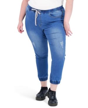 Trendy Plus Size Tie-Front Jogger Jeans