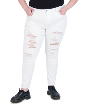 Trendy Plus Size Destructed White Skinny Jeans