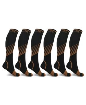 Men's and Women's Copper-Infused V-Striped Knee-Length Compression Socks