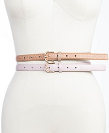 Plus Size 2-For-1 Logo & Smooth Skinny Belts