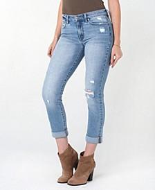 Women's Roll Cuff Girlfriend Jeans with Destructed Knee